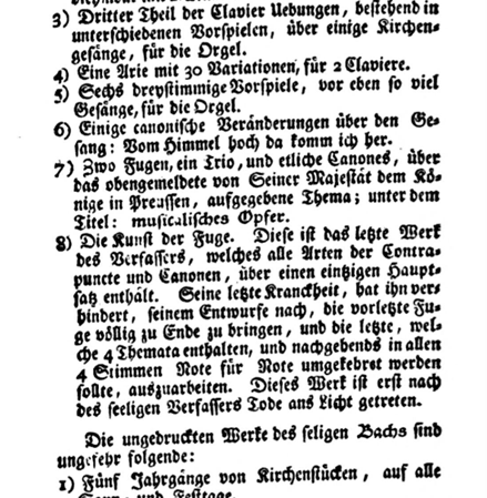 Figure 18. Sentence about Die Kunst der Fuge in the obituary